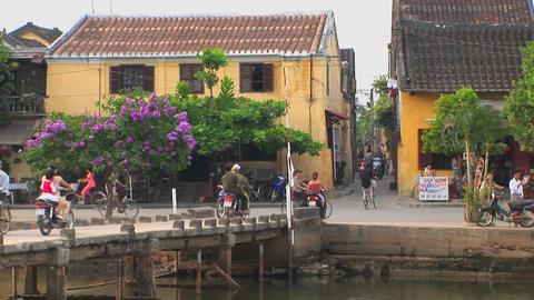 An establishing shot of a Vietnamese village Footage