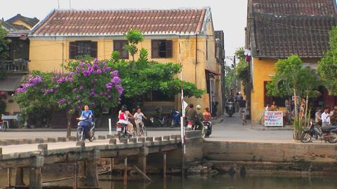An establishing shot of a Vietnamese village Stock Video Footage