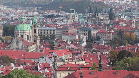 An overview of Prague, Czech Republic Stock Video Footage