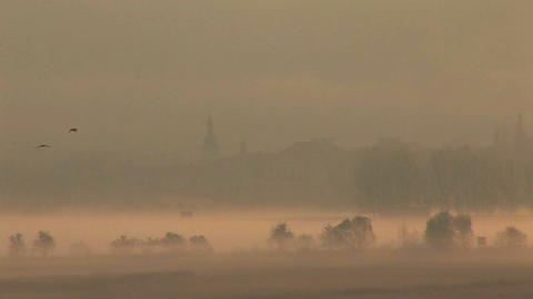 The charming town of Mikulov in the Czech Republic in the fog Footage