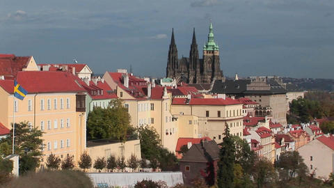 A view of Prague, Czech Republic includes distant cathedrals Stock Video Footage