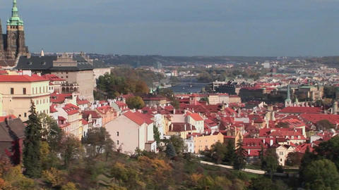 A view of Prague, Czech Republic includes distant cathedrals Footage