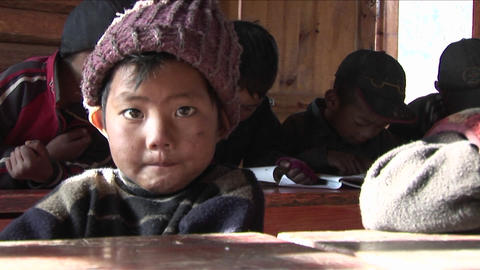Chinese children study hard at a rural school Footage