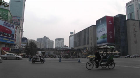 Motorcycles crowd a street in Beijing, China Stock Video Footage