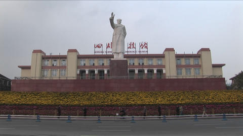 A statue of Chinese dictator Mao signals to a new China Footage