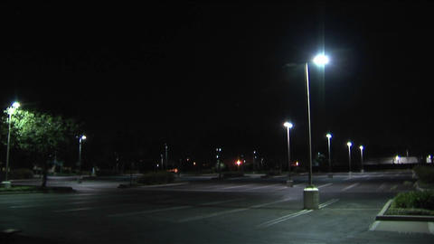 An empty parking lot at night Footage