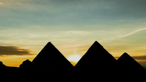 Sunset at the Pyramids of Giza in Cairo Live Action