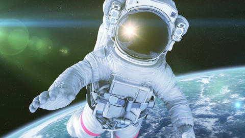 Astronaut in Space. 3d animation with a green screen Animation