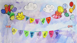 Animated happy birthday postcard with two bird, balloons and flags with words Animation