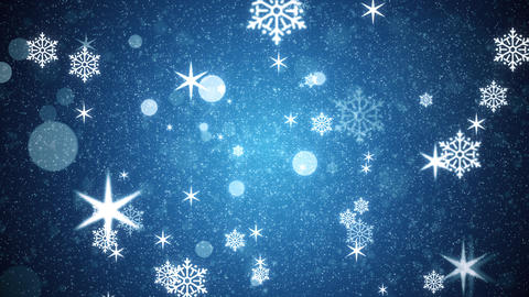 4K Blue Winter Snowflakes Motion Background Animation