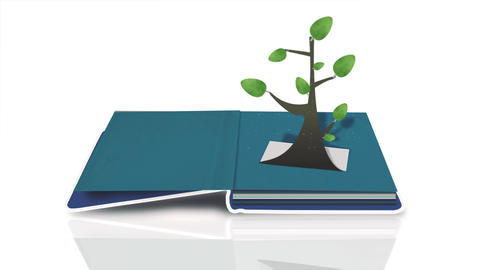 Pop up book is opened and paper folding tree stands up. Black - White Version Animation