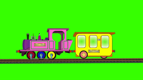 Cartoon Train on Moving Tracks (Green Screen): Loop + Matte Animation