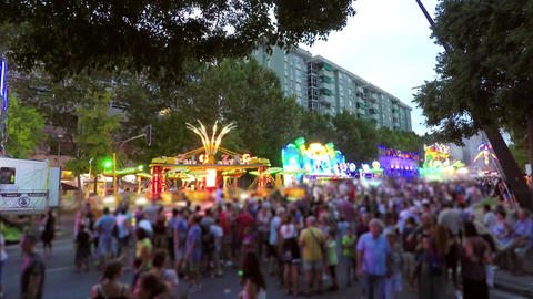 Summer Night Activities Fair With Lights Stock Video Footage