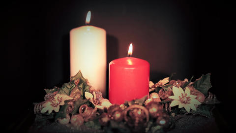 Red and White Candles Footage