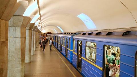 Departure subway train station Maydan Nezalezhnosti Footage