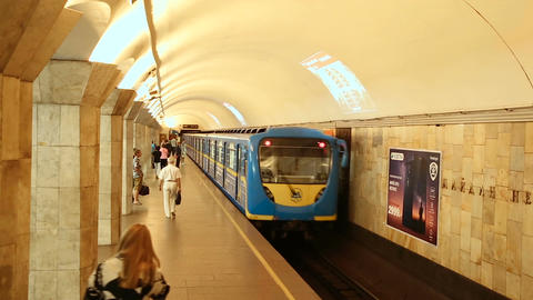 Arrivals and departures at underground train station Maydan Nezalezhnosti Footage