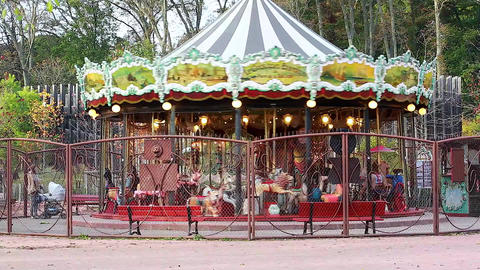 Beautiful Carousel Merry-Go-Round Footage
