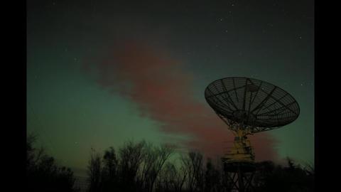 Time lapse of aurora borealis with radio telescope Footage