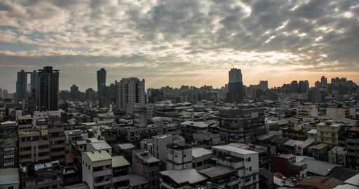 Urban city scape of Taichung City / Taiwan. Grey architecture Live Action