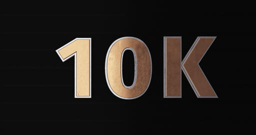 10 K, 10000. 3D Promotion Intro. Gold Text Logo Animation