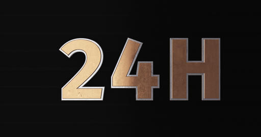 24h. 3D Promotion Intro. Gold Text Logo Animation