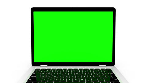 Modern laptop appear from far away, isolated on white background Animation