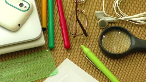 School and office supplies over office table Footage
