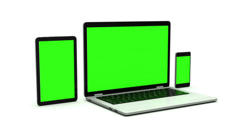 Modern laptop, tablet and smartphone with green screen. Animation on white backg Animation