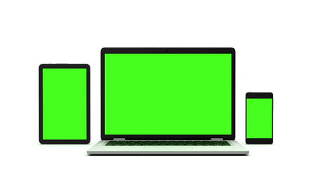 Modern laptop, tablet and smartphone with green screen. Animation on white backg CG動画素材