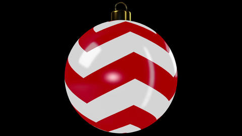 Red Spinning Christmas Ball With Stripes Animation