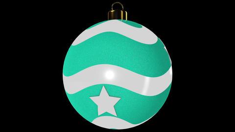 Cyan Spinning Christmas Ball With Stars Animation