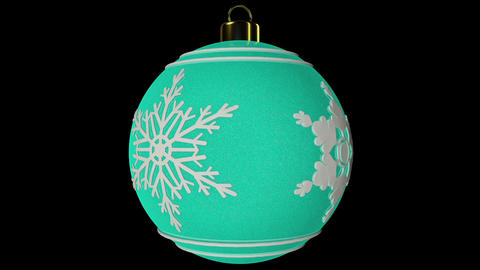 Cyan Spinning Christmas Ball With Snowflakes Animation