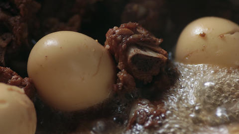 Zoom View Thai Food Pork and Boiled Eggs in Sweet Brown Sauce or Thai Stewed Live Action