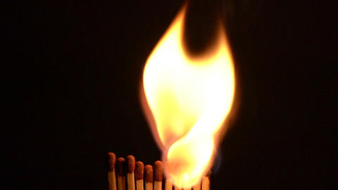 Match Sticks Catching Flame - Eleven Stick Slow Motion Live Action