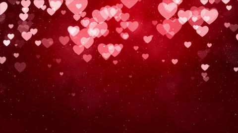 Red Valentines and Wedding Hearts loop background Live Action