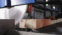 Lumber industry - Circular saw cuts the ends of wooden beams GIF