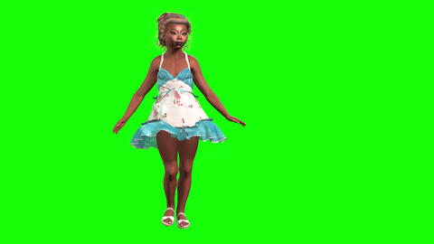 963 HD DIVERSITY 3D small animated funny afro American girl walks 動畫
