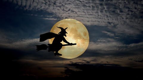 halloweeen scary scene background with night sky and moon, enchantress fly Animation