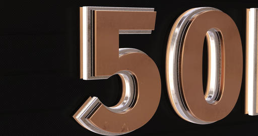 50K, 50000. 3D Promotion Intro. Gold Text Logo Animation