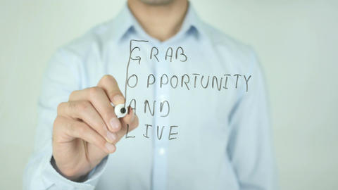 GOAL, Grab Opportunity And Live, Writing On Transparent Screen Live Action