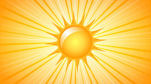 Rotating Sun with rays on yellow background. 4K UltraHD motion graphic seamless  Animation
