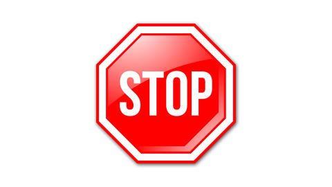 Octagonal and glossy STOP road sign animated on transparent background with alph Animation