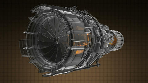 rotate jet engine turbine of plane, aircraft concept, aviation and aerospace ind Footage