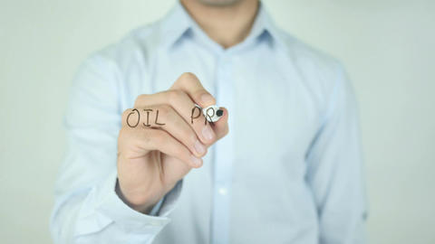 Oil Prices Rise, Writing On Transparent Screen Live Action
