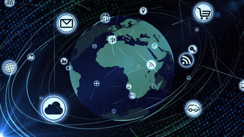 Technology Icon Network World Internet Digital devices on space Earth background 6Mc 動畫