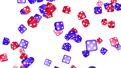 Blue and Red Casino Chips Rolling Rotating on Live Action