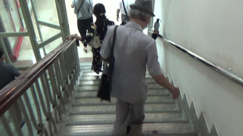 footage of walking down the stairs Live Action