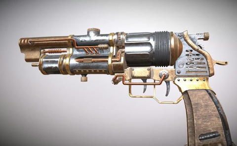 Steampunk-revolver-with-animations 3D Model
