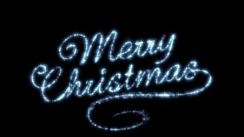 Merry Christmas Beautiful Text Animation Isolated on Black Background. Stars in  Animation