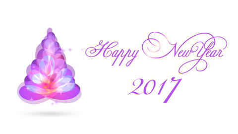 Happy New Year 2017 Christmas Tree Card Title Animation